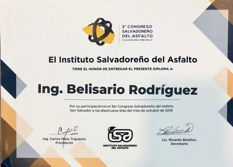 Diploma Tercer Congreso Salvadoreño de Asfalto